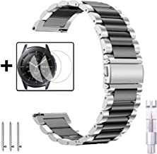 Wolait Galaxy Watch 46mm Band Stainless Steel + Tempered Glass Screen Protector for Samsung Galaxy Watch 46mm/Gear S3 Frontier/Classic (Silver/Black)