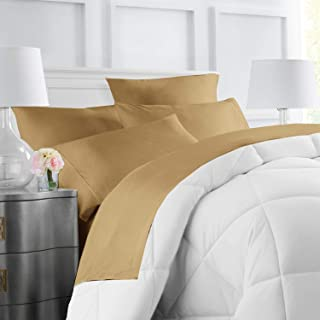 Egyptian Luxury Hotel Collection 4-Piece Bed Sheet Set - Deep Pockets, Wrinkle and Fade Resistant, Hypoallergenic Sheet and Pillow Case Set - Queen, Gold