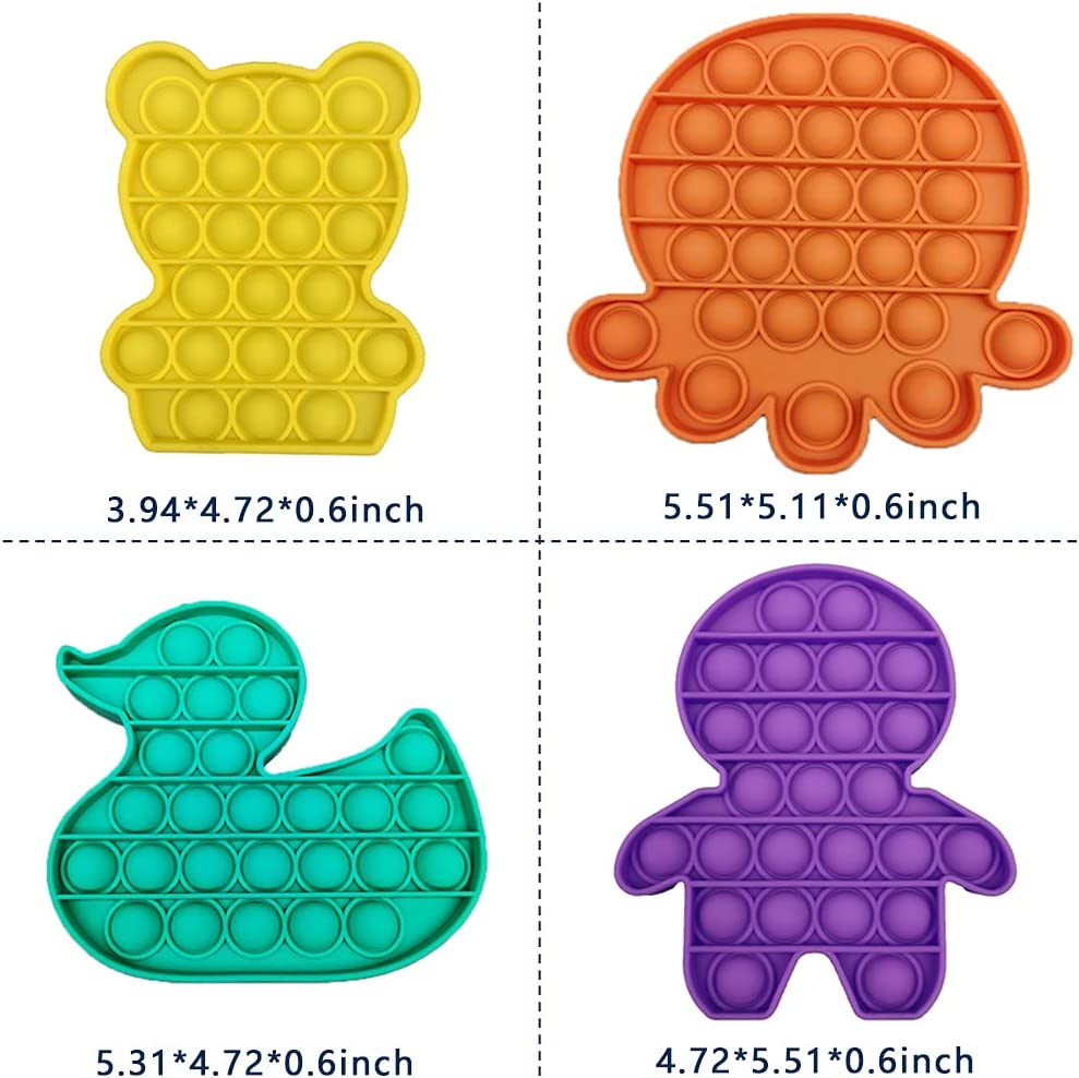 Rabbit+butterfly2+Octopus+Duck 4 Packs Fidget Sensory Toy Cheap,Fidget Packs with Simple Dimples and Pop Its in It,Autism Special Needs Silicone Stress Relief for Kids Adults
