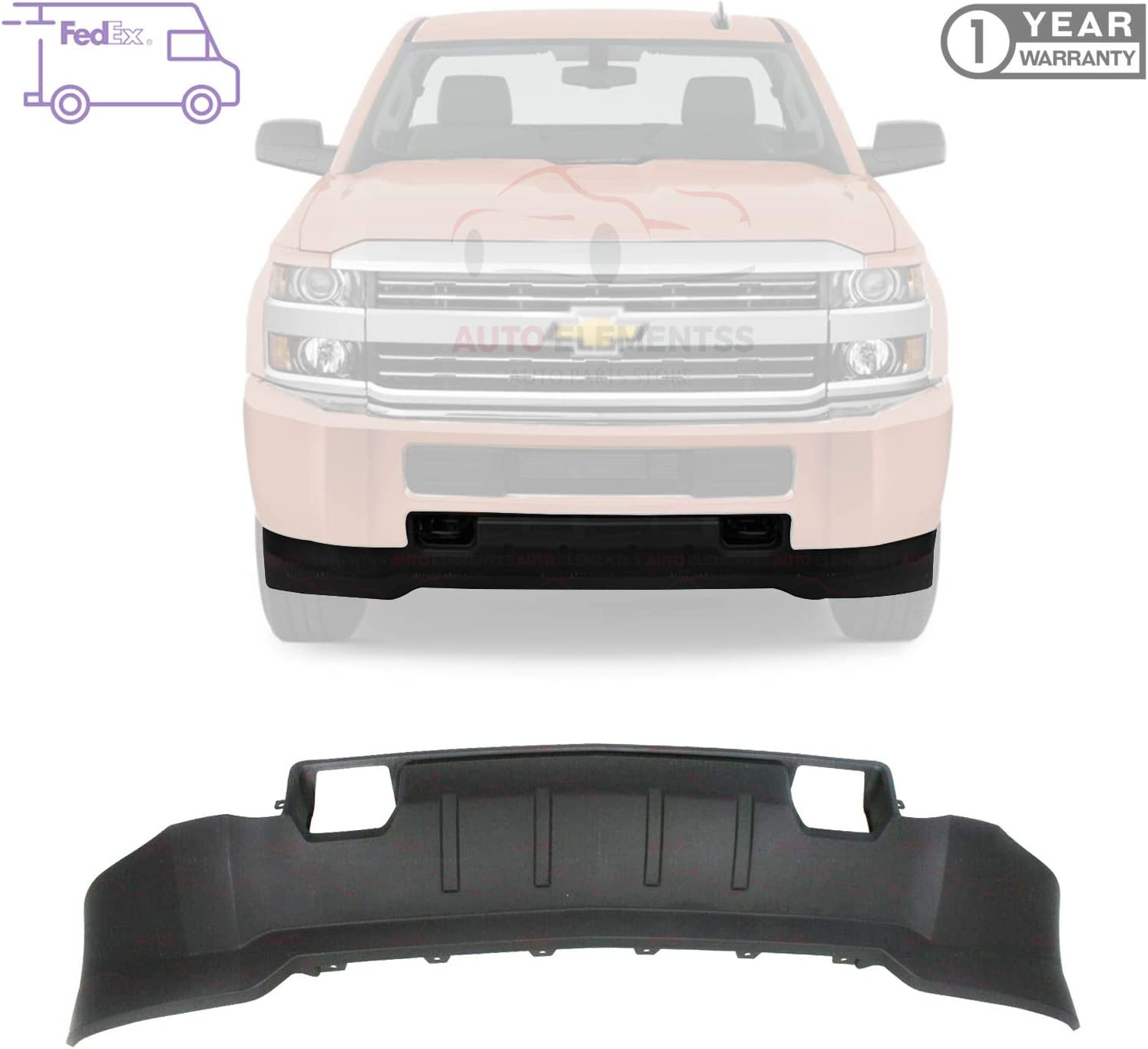 Amazon Com Front Lower Valance Air Deflector Textured Plastic For 2015 2019 Chevrolet Silverado 2500hd 3500hd Direct Replacement 22978557 Automotive