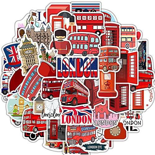 ZNMSB 50 Pegatinas únicas de Graffiti de autobús Rojo de Londres Pegatinas de Maleta de Equipaje de Estilo británico más vendidas