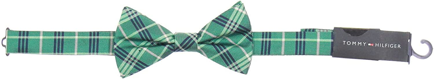 Tommy Hilfiger Men's Teal Plaid Pre-Tied Bow Tie