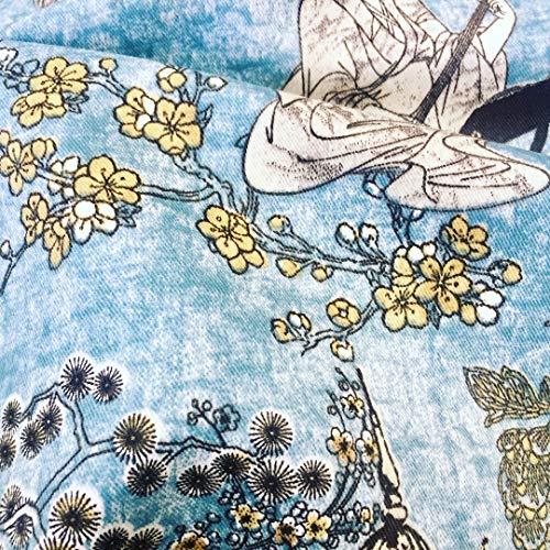 Geisha Japanse Pagode Oosterse Twill Bloemen Gordijn Materiaal - 140cm breed textiel - Blauw, Mosterd