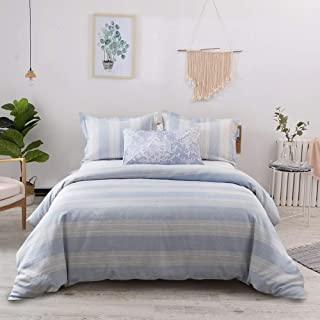 Lausonhouse French Linen Duvet Cover Set, 100% Linen Yarn Dyed Striped Duvet Cover Set,Luxurious Bedding Set - Full/Queen - Blue Stripe