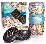 Annika Jade - Vela perfumada en caja de regalo | Juego de velas en lata de aromaterapia | Oro azul | Viajes, vacaciones, decoración del hogar