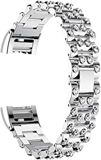 Autulet for Dressy Fitbit Charge 2 Bands Stainless Steel Fitbit Smart Watch Bands for Fitbit 2 Straps for Women Fitbit Charge 2 Band Rhinestone