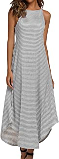 Halife Women's Summer Casual Stripe Sleeveless Loose Beach Maxi Dress