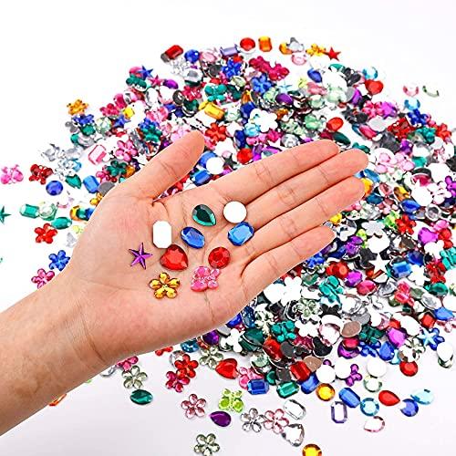 600 Stück Acryl Bunt Schmucksteine Set Wassertropfen Strasssteine Kristall Glitzersteine für Tassen, Geschenkboxen Fotorahmen Handys Autos Handgefertigten Geschenken Grußkarten Sammelalben Handtaschen