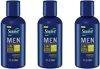 Suave Men 3-in-1 Shampoo + Conditioner + Body Wash Citrus Rush 3 oz Travel Size (pack of 3)