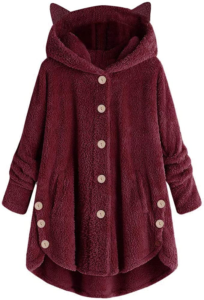 Womens Fuzzy Fleece Long Hoodie Cardigan Button Down Solid Color
