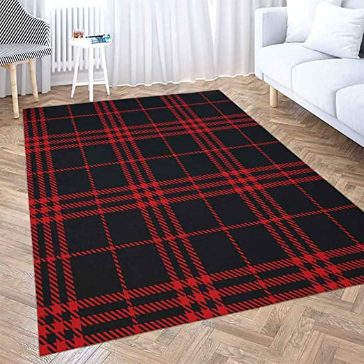 Amazon Com 5x7 Area Rug Shorping Play Area Rug Winter Rug Christmas Area Rugs Black Red Tartan Plaid Scottish Pattern Texture Modern Home Carpet Fun Area Rug Floor Mats For Home Bedroom Large
