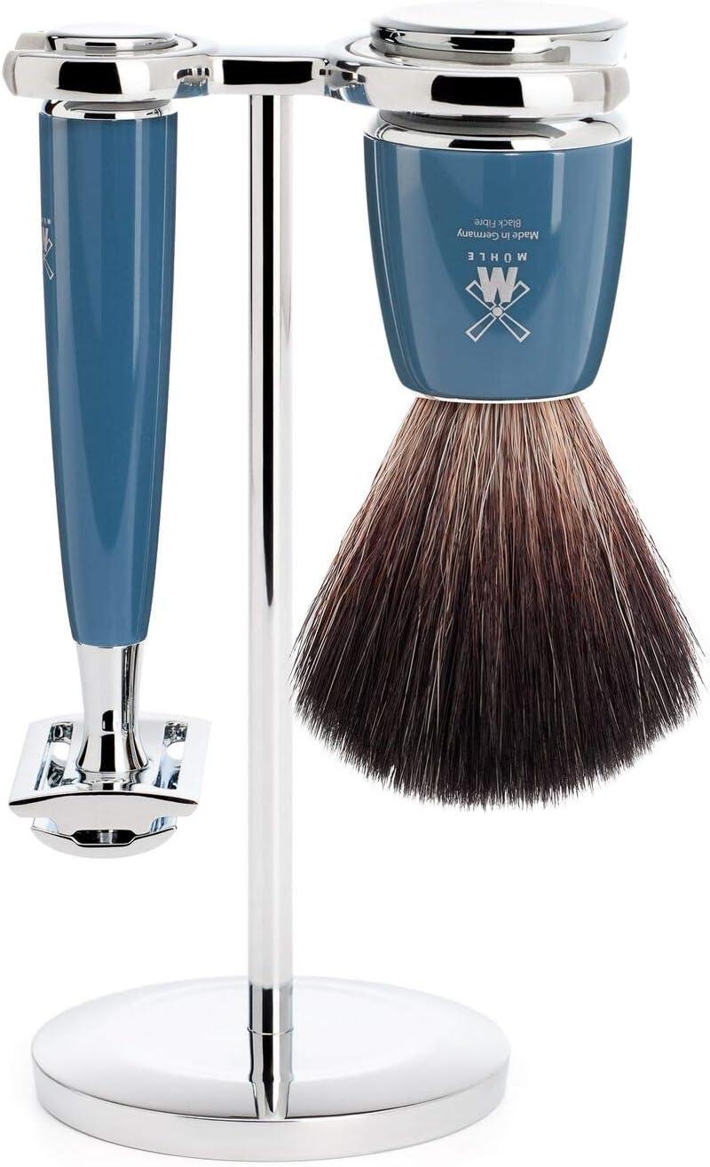 MÜHLE Rytmo - Juego de afeitado (fibra negra, 3 piezas), color azul