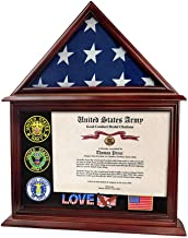 Indeep Flag Display Case Certificate & Document Holder Frame 3' X 5' Flag Military Shadow Box