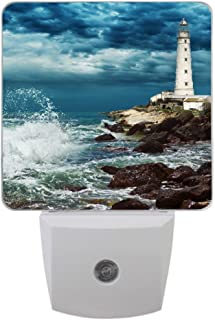 Coolstuffs Lighthouse LED Night Light with Sensor Plug-in Wall Night Lamp for Children Bedroom Hallway