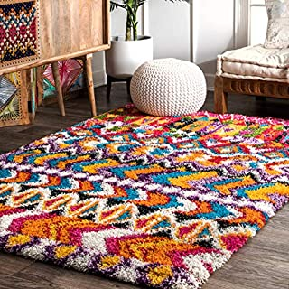"""nuLOOM OZXL10A Moroccan Abstract Shag Area Rug, 7' 10"""" x 10' , Multi (B079RX2RYM) 