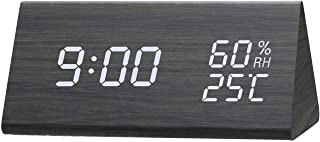 Digital Alarm Clock, Dual Time (12/24) Mode, Three Alarm Sets, Date LED Display, 3 Levels Brightness, Temperature and Humi...