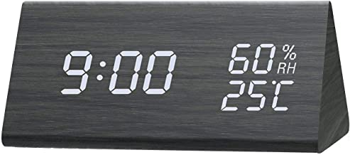 Digital wood Alarm Clock, Dual Time (12/24) Mode, Three Alarm Sets, Date LED Display,AAA, black