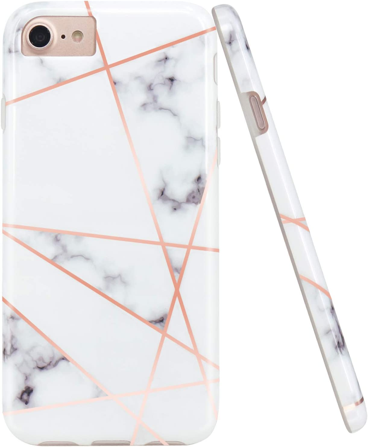 JAHOLAN Shiny Rose Gold Geometric White Marble Design Clear Bumper Glossy TPU Soft Rubber Silicone Cover Phone Case Compatible with iPhone 7 iPhone 8 iPhone 6 6S iPhone SE 2020