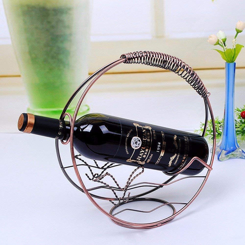 Wine Rack Bronze Iron Round Creative Wrought Iron Retro Home Decoration (color   -, Size   -)