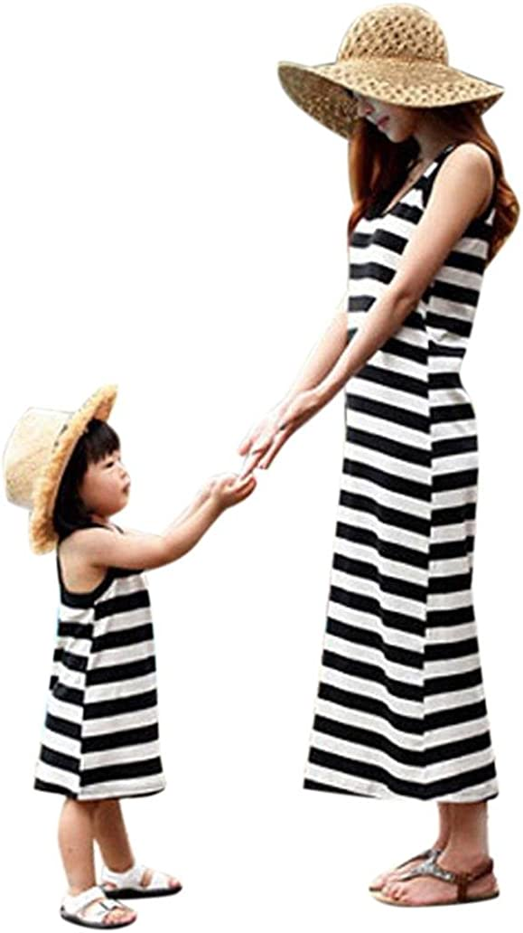 Franterd Parent-Child Family Matching Stripe Beach Long Maxi Dress Mom /& Baby Outfits Sundress