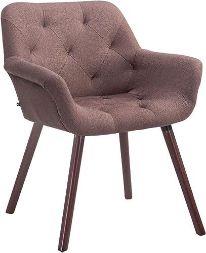 CLP Chaise de Salle à Manger Cassidy Revêtement Tissu I Pieds en Bois Chaise Design Scandinave avec Dossier et Accoud...