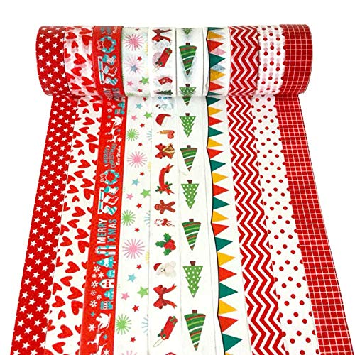 """Christmas Washi Tape Set, 10Rolls Merry Christmas Masking Tape Decorative for Xmas Decor Holiday Christmas Party Favors Craft Supplies, 0.6"""" x 16.4ft"""