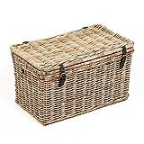 LEBENSwohnART Rattan Truhe RESSY Grey ca. L76cm Couchtisch Wohnzimmertisch Handarbeit Kiste
