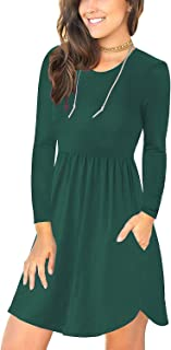 HUSKARY Long Sleeve Dresses for Women A Casual Loose Pockets Swing T-Shirt Dress for Fall and Winter