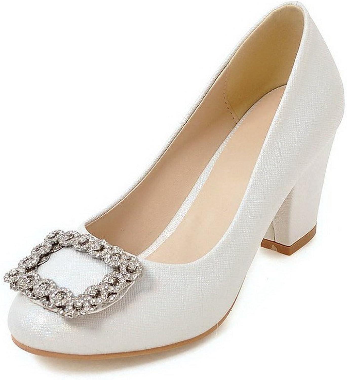 AmoonyFashion Women's High-Heels PU Solid Round-Toe Pumps-shoes