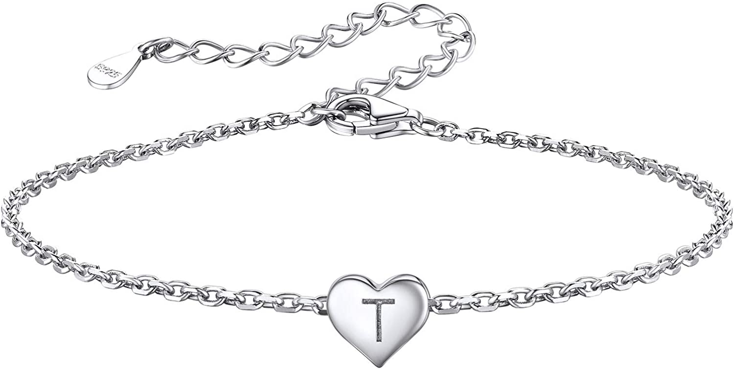 Silvora Initial Heart Bracelet Sterling Personalized Max 88% OFF Silver Bombing new work Lett