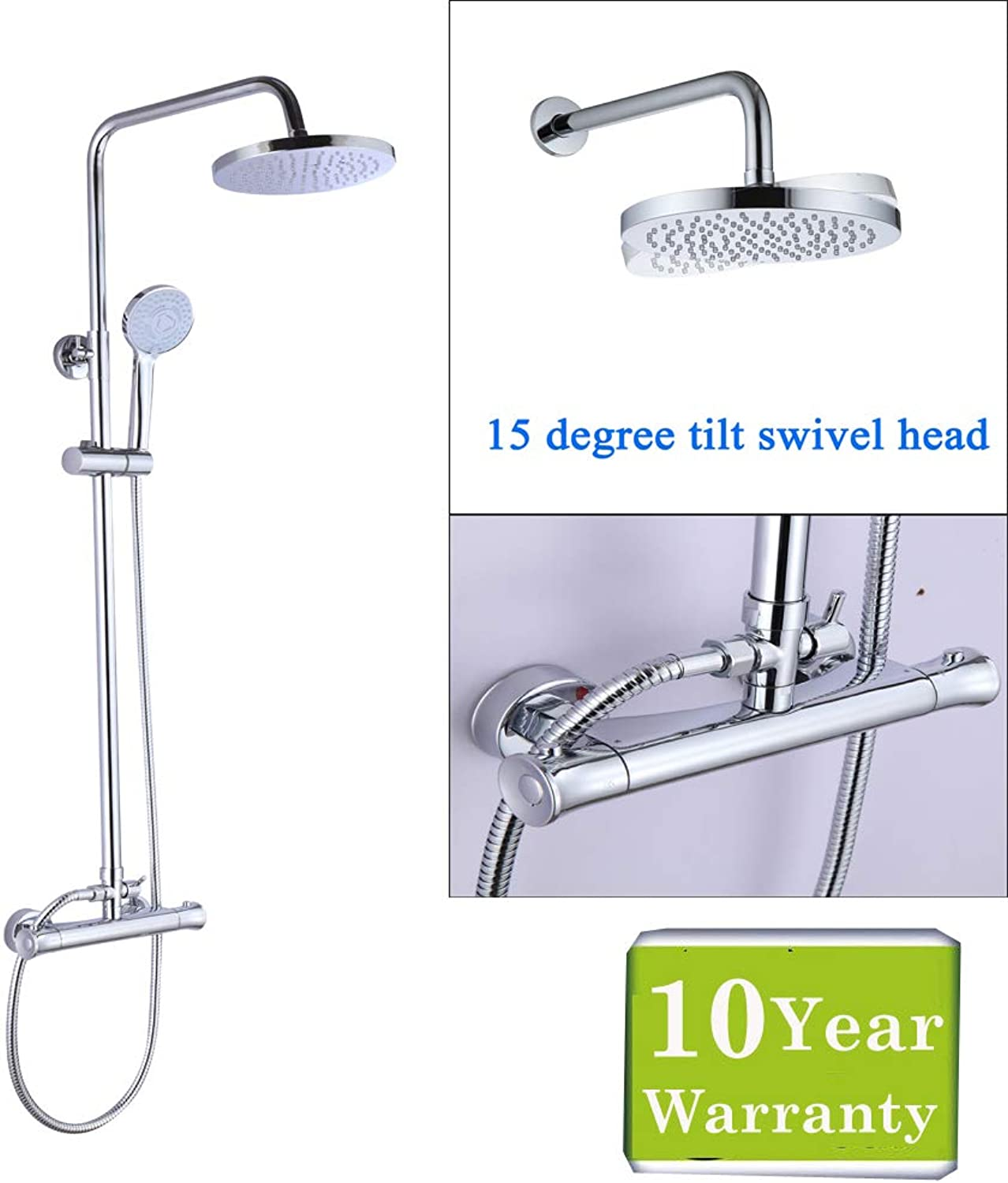 Thermostatic Bath Shower Mixer Tap Adjustable Riser Rail Round Twin Head Chrome Finish Solid Brass Air-in Save Water for Bathroom