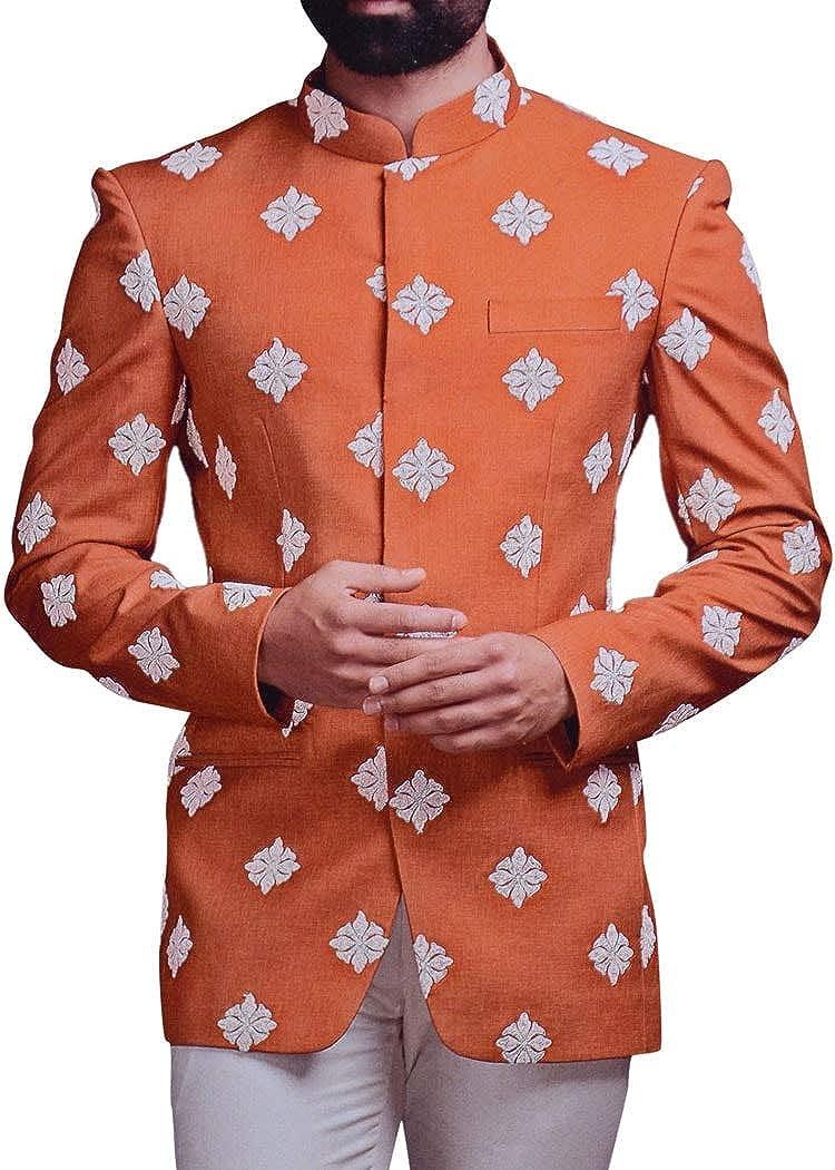 INMONARCH Mens Rust Jodhpuri Suit Embroidery Work Mandarin Collar Suit JO1104