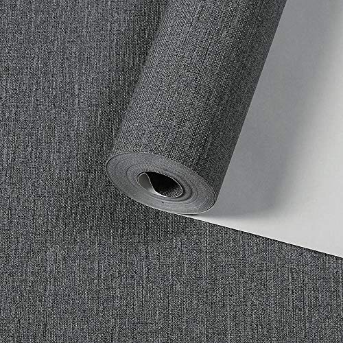 Papel pintado Papel pintado monocromático liso minimalista moderno moderno dormitorio sala de estar Papel pintado retro chino-gris oscuro, en relieve profundo, impermeable y portátil