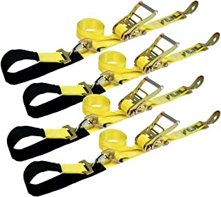 VULCAN Classic Yellow 2 Inch x 114 Inch 1-Ply Flexible Axle Tie Down Combo Strap with Snap Hook Ratchet - 3,300 lbs. Safe Working Load,4 Pack - Haul Any Car, Truck, Jeep, ATV, UTV, or SUV