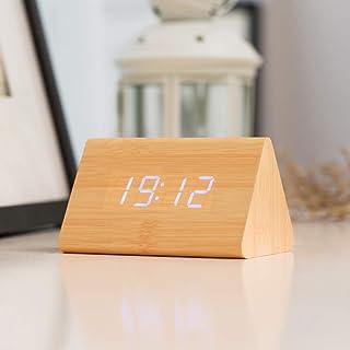 Réveil numérique ZMDHL Affichage électronique du Triangle LED Température de l'heure en Bois, réveil numérique Horloge de ...