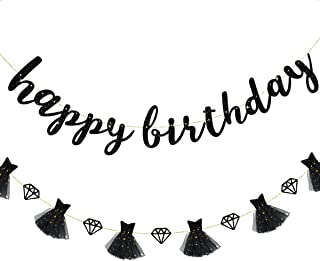 pinkblume Black Happy Birthday Banner and Black Double Sided Glitter Diamond with 3D Little Black Dress Garland for Birthday Party Decorations Supplies