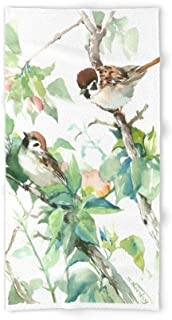 YICHIBAOEL Sparrows and Apple Blossom Bath Towel 31.5