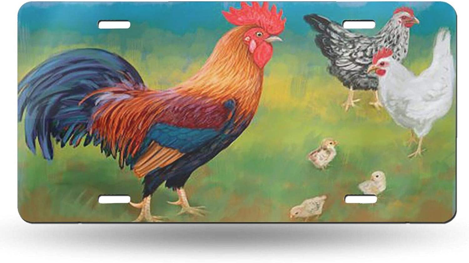 KiuLoam Rooster with Chickens 12x6 License Alum Cover Plate We OFFer at cheap prices Max 77% OFF Inch