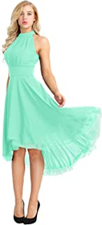 YiZYiF Women's Sleeveless High Low Bridesmaid Dresses Chiffon Halter Party Dress