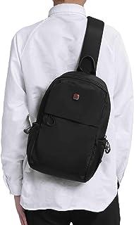 کیف مردانه کوله پشتی کوله پشتی کوله پشتی مسافرتی کیف قفسه سینه کیسه شانه در فضای باز سبک وزن یک بند مشکی (مشکی)