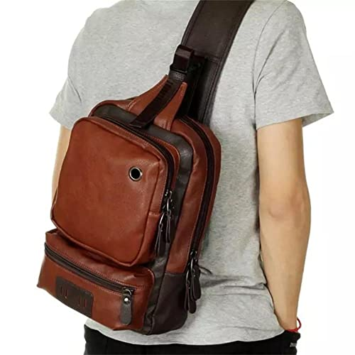 45028c71a23d AOLIDA Men Sling Bag PU Leather Unbalance Chest Shoulder Bags Casual Crossbody  Bag Travel Hiking Daypacks