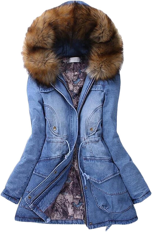 JXG Women's Winter Warm Thick Stretch Faux Fur Down Denim Coat