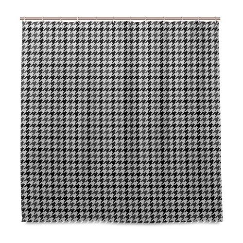 Nonebrand Hartnell Hahnentritt-Duschvorhang-Set Badezimmer Heimdekoration Vorhang Polyester Stoff mit 12 Haken 182,9 x 182,9 cm