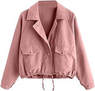 77881bfabe2a76 MCYs Damen Mode Langarm Kurze Knopf Mantel Pocket Jacke Strickjacke Skin  Suits mit Kapuze Reißverschluss Taschen