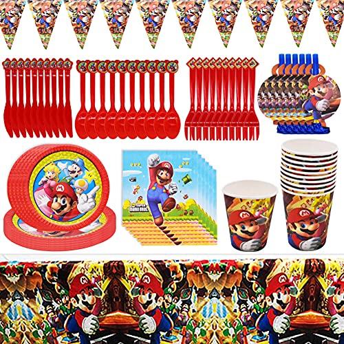 Ensemble Vaisselle de fête, CYSJ 78 PCS Kit Vaisselle Jetable Anniversaire Super Mario Assiette Dîner Tasse Serviette Papier Paille pour Party Fête Baby Shower Noël