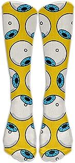 N / A, Globo ocular Winter Crew Sock Crazy Socks Tube Calcetines altos Novedad Divertida Luz delgada para adolescentes Niños Niñas 50 cm / 19.7 pulgadas