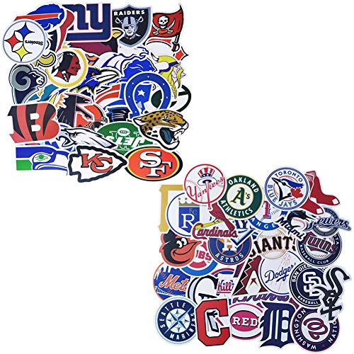 Barisc Aufkleber, NFL und MLB, 62 Stück, wasserdicht, Vinyl, Sport-Fan-Aufkleber, 32 Stück, NFL National Football League, 30 MLB Major League Baseball All Teams, American Sports Fan Aufkleber