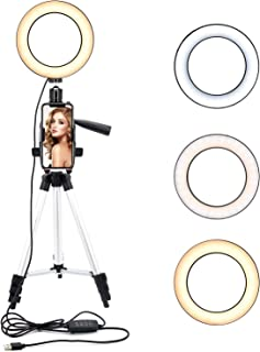 ASAKUKI 6.3 inches Ring Light with Tripod Stand and Phone Holder for Selfie Pictures, YouTube Videos, Makeup Application, Streaming LED Ring Light with 11 Brightness Levels &3 Lighting Modes