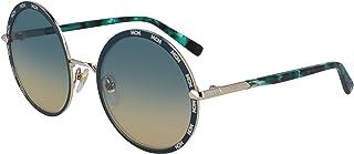 Mcm Women's Sunglasses Round Mm Half Diamond Shiny Gold/Petrol