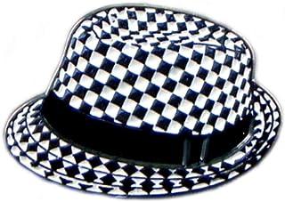 Mainly Metal ™ - Spilla smaltata a forma di cappello da ska, colore: nero e bianco, 2 tonalità (spilla da 25 mm) per scoot...